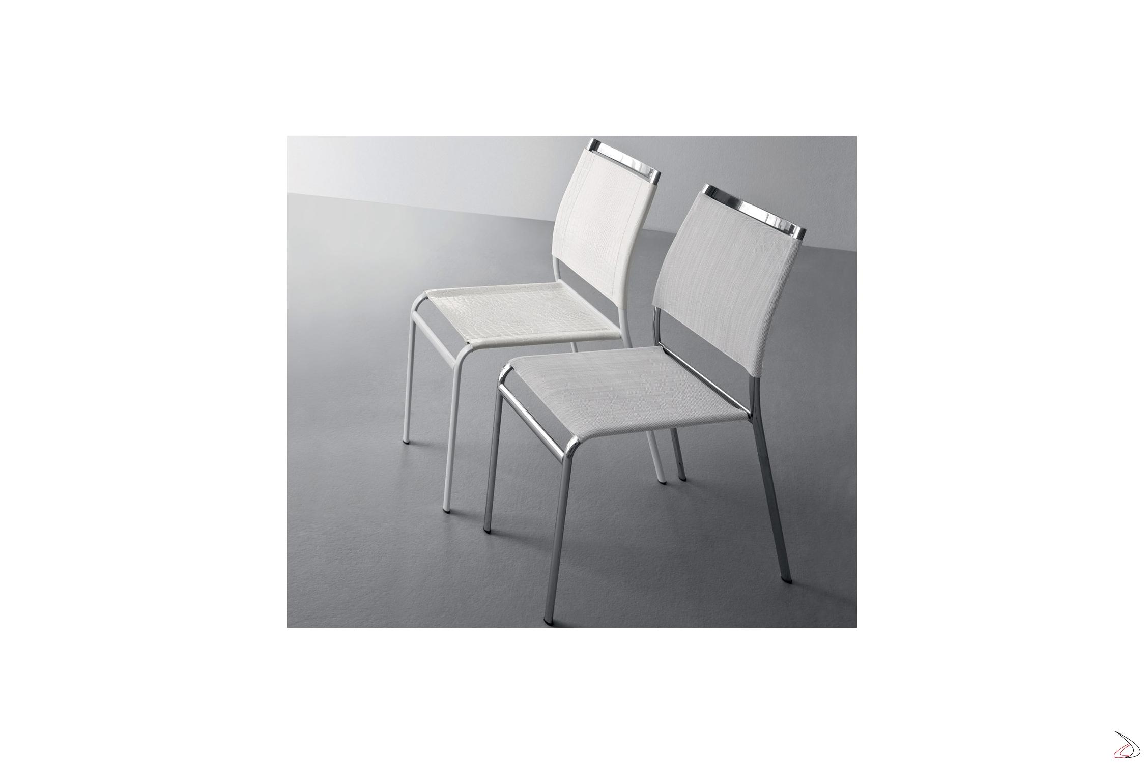 Sedie Metallo E Cuoio.Sedia Design Impilabile Skyfall Toparredi Arredo Design Online