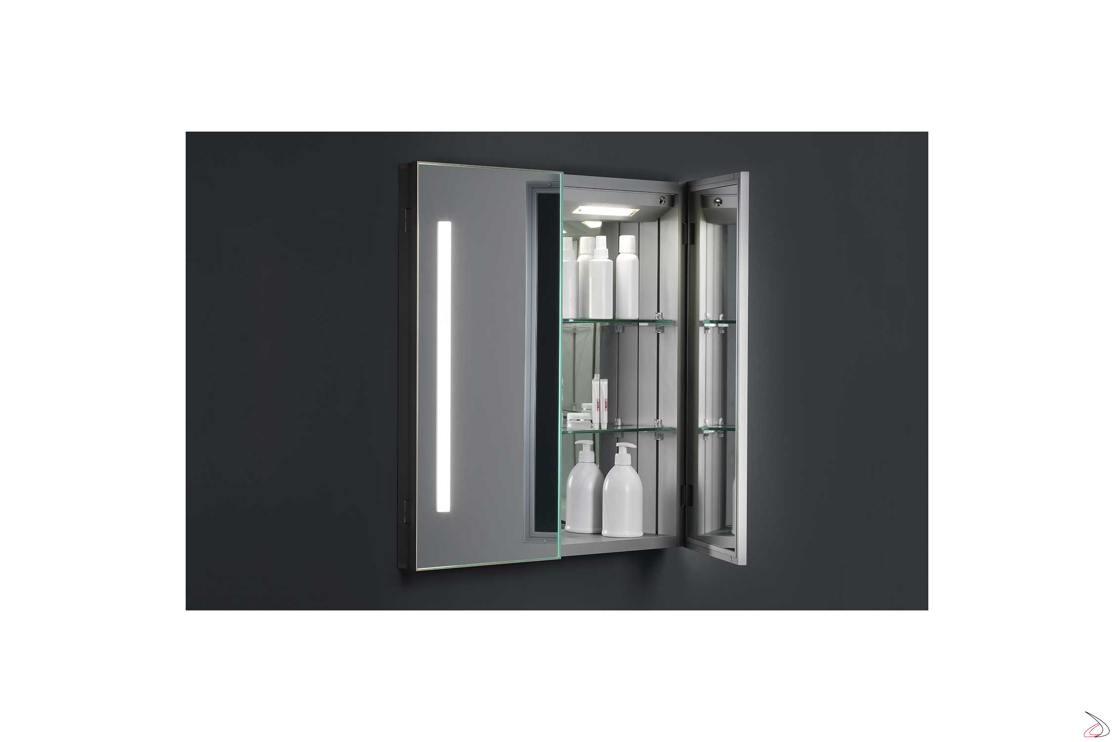 Specchio Bagno Contenitore Led.Specchio Contenitore Di Design Con Luci Led Rigel Toparredi