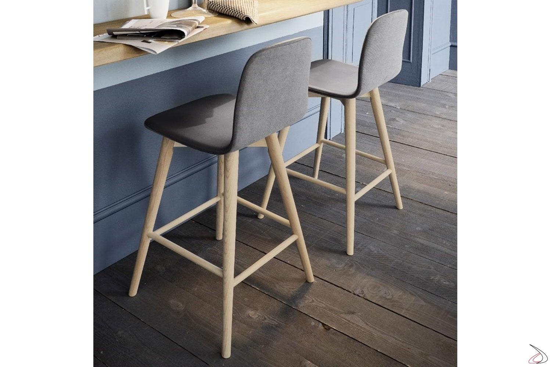 Sgabello con seduta imbottita e foderata in ecopelle, e gambe in legno. Il suo design semplice e contemporaneo lo rende un arredo adatto a tutti gli ambienti.