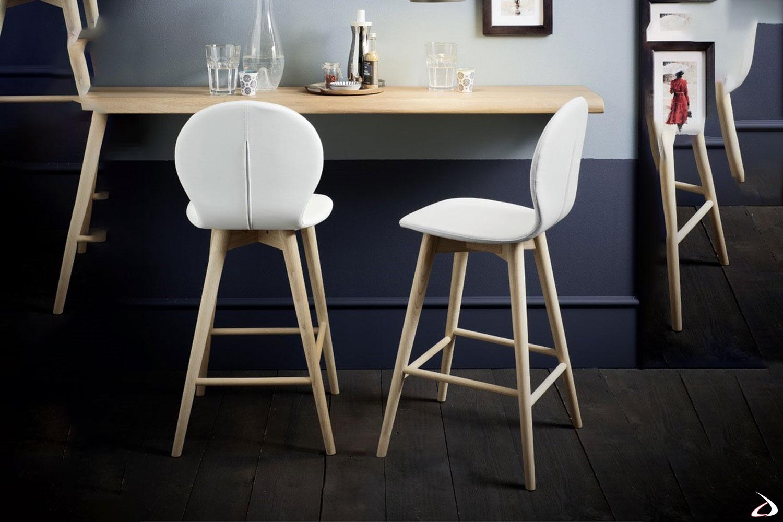Sgabello dal design semplice e sagomato, con seduta curvilinee imbottita e rivestita in ecopelle, e caratterizzata da eleganti gambe in legno.