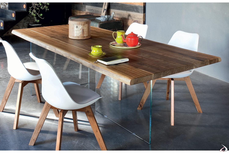 Soggiorno Moderno Con Tavolo In Legno.Tavolo Design In Legno Grezzo Narciso Toparredi Arredo Design