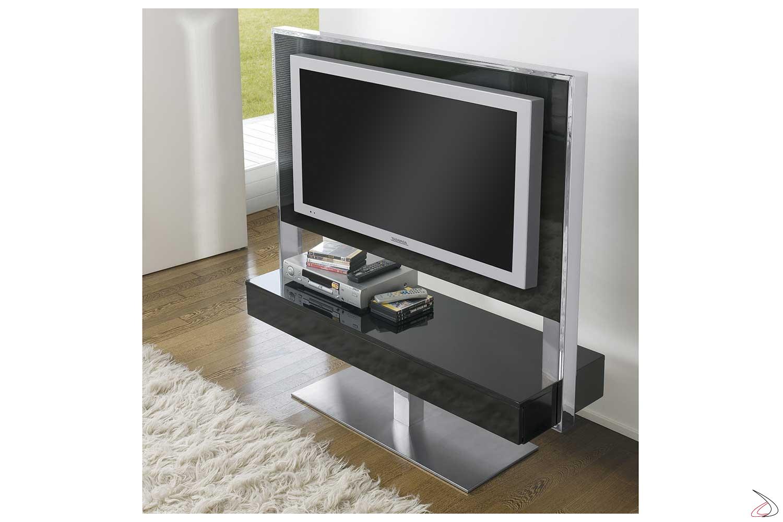 Porta tv di design girevole in legno e acciaio con cassetti