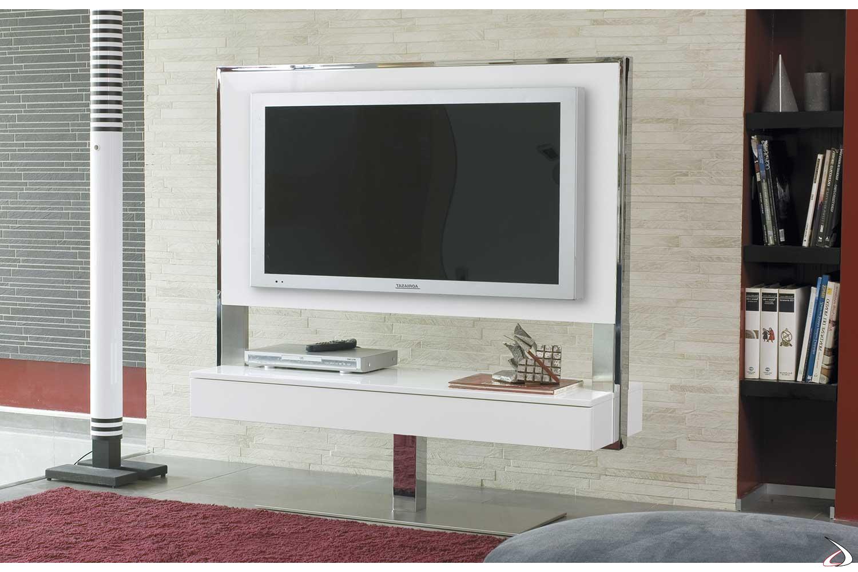 Porta tv girevole moderno in legno laccato bianco con cassetti