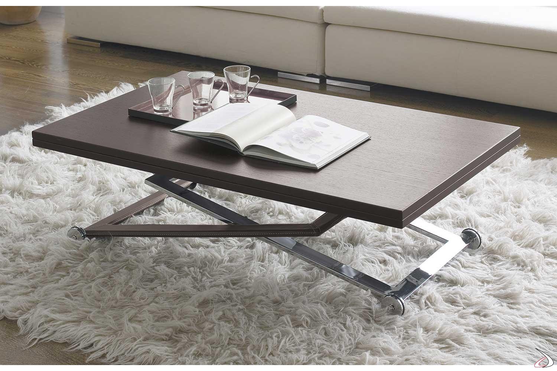 Tavolino moderno in legno da salotto regolabile in altezza
