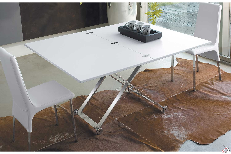 Tavolino trasformabile in tavolo con piano in legno e struttura cromata