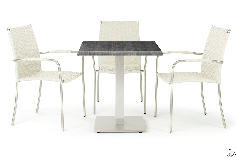 Arredamento per gazebo con sedie con braccioli colore bianco