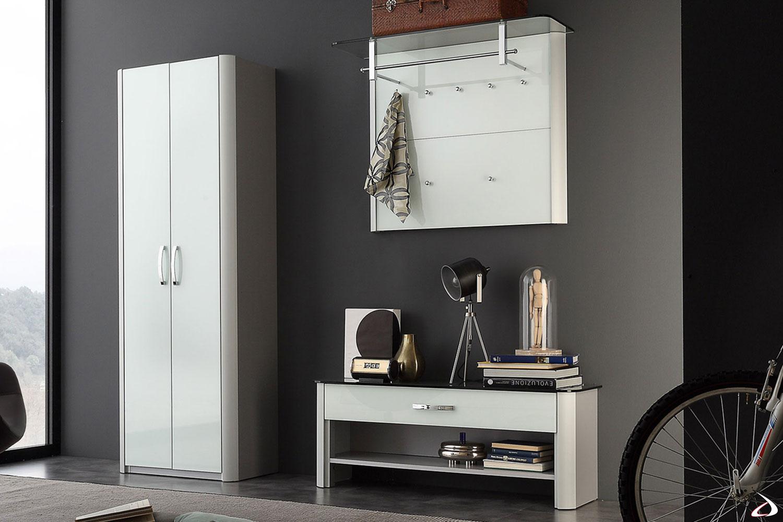 Composizione per ingresso modello Melodie con profilo mille-righe alluminio