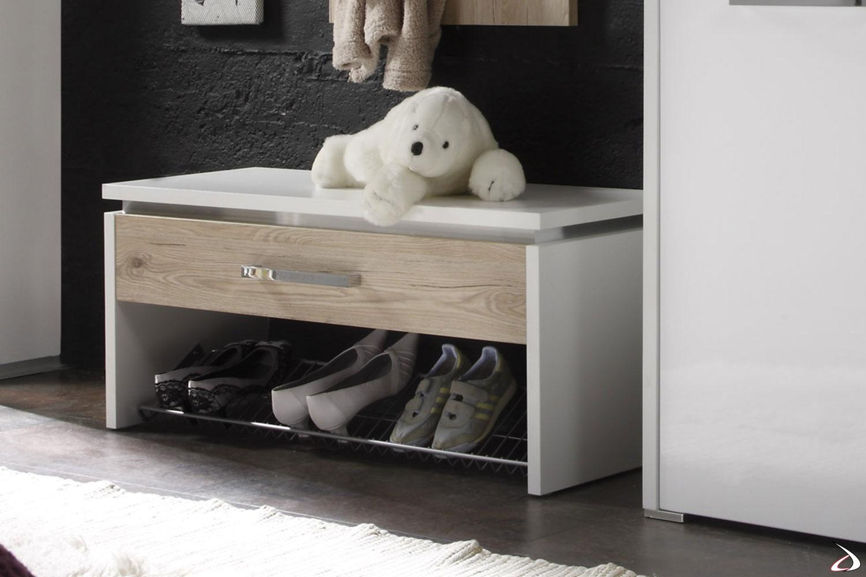 Panca moderna bi-colore con cassetto porta oggetti e griglia porta scarpe.