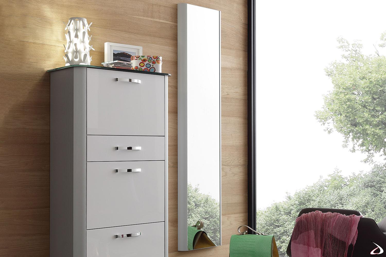 Specchiera verticale con bordo alluminio mille-righe modello Melodie 3