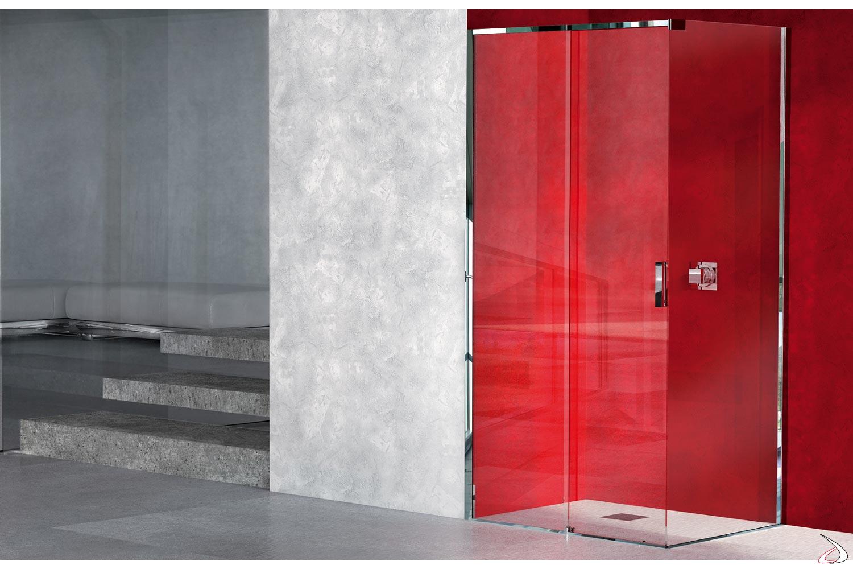 Box doccia ad angolo con porta scorrevole in vetro