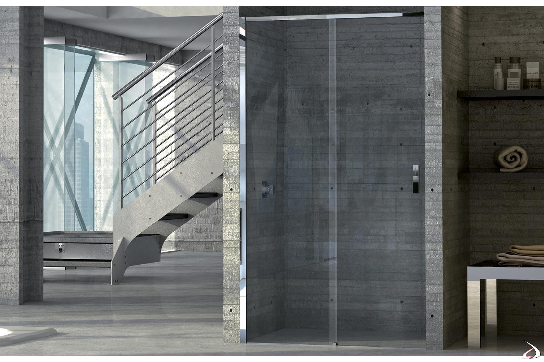 Cabina doccia in nicchia con porta scorrevole in cristallo