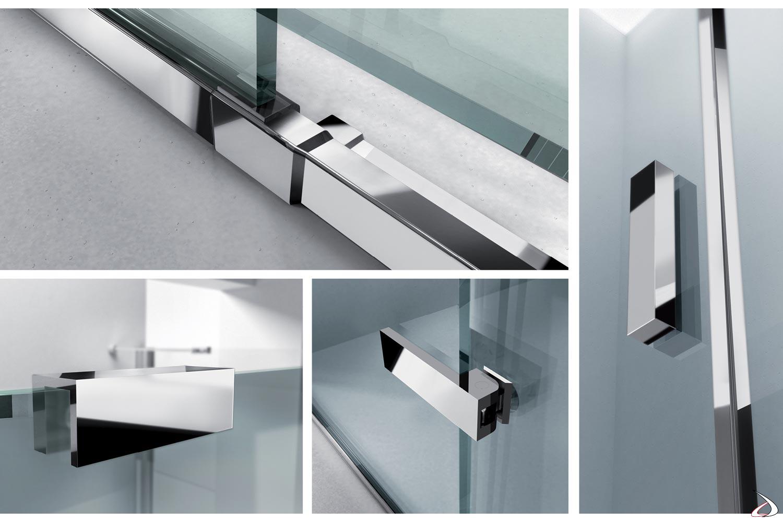 Profili in alluminio in finitura cromo per cabina doccia in nicchia