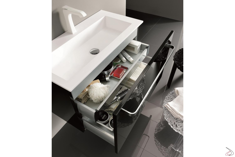 Base sospesa con cassettone e cassetto interno