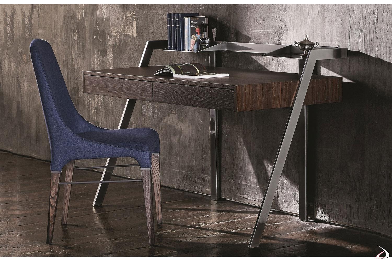 Consolle scrittoio in legno con cassetti per studio