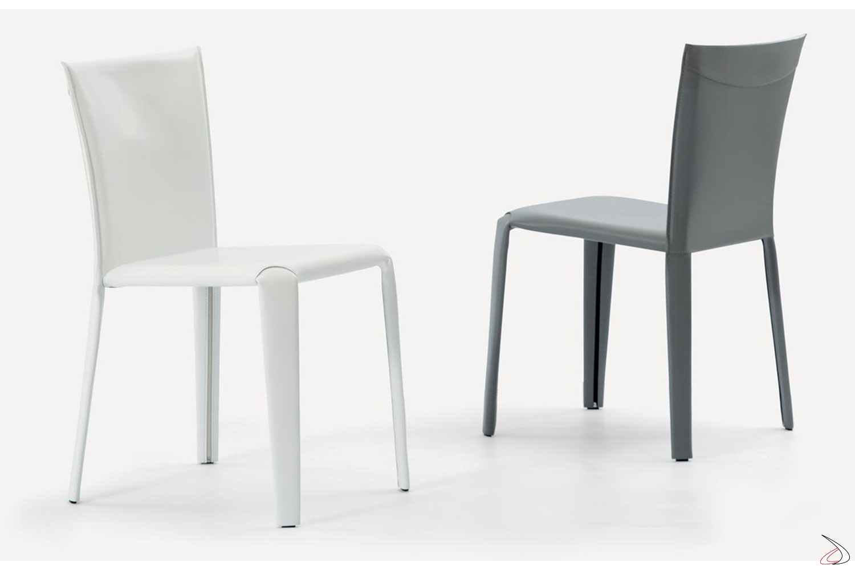 Sedie moderne con rivestimento in cuoio bianco e grigio chiaro