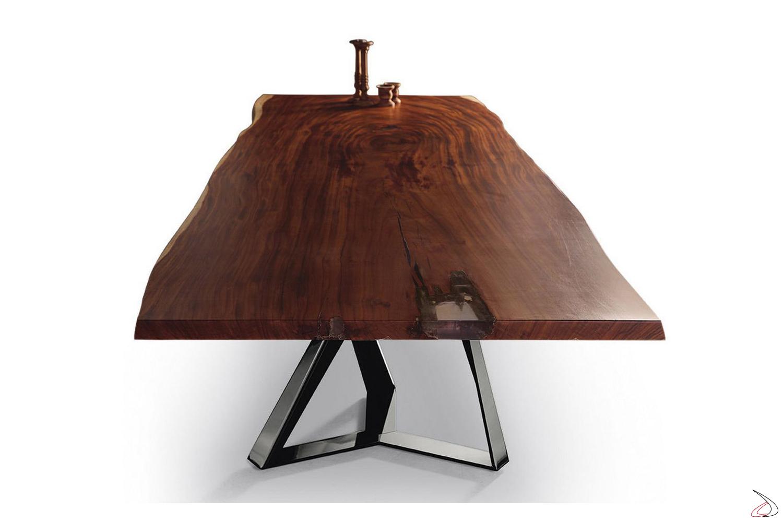 Tavolo grande da taverna in legno massello noce secolare