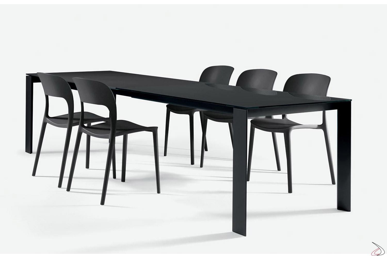Tavolo In Vetro Nero Allungabile.Pascal Extendable Crystal Table Toparredi Arredo Design Online