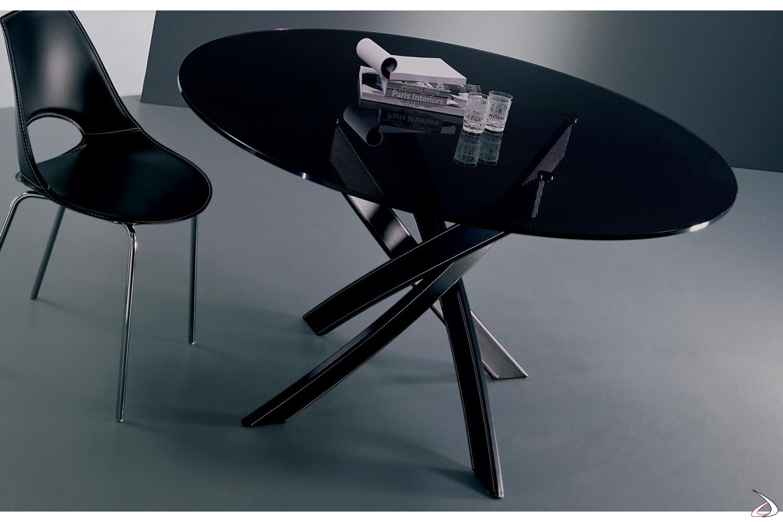 Tavoli Rotondi In Vetro Cristallo.Tavolo Rotondo Barone Di Bontempi Toparredi Arredo Design Online