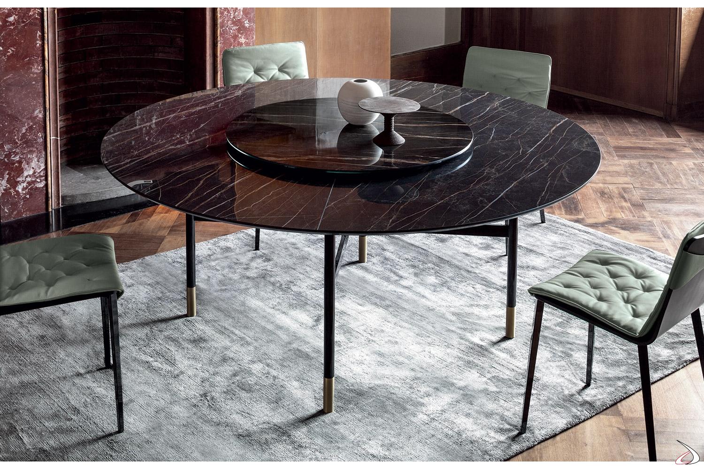 Tavolo rotondo glamour con piano in marmo e vassoio for Tavolo marmo design