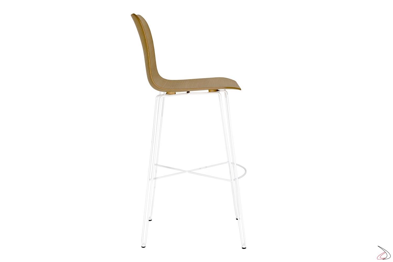 Sgabello moderno bianco in acciaio e seduta con schienale alto in legno rovere