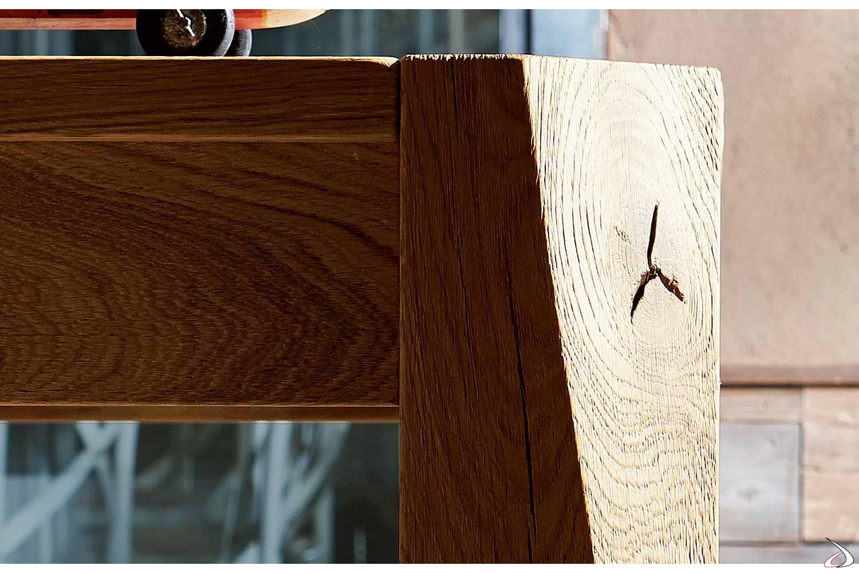 Tavolo da pranzo allungabile in legno con gambe in rovere massello