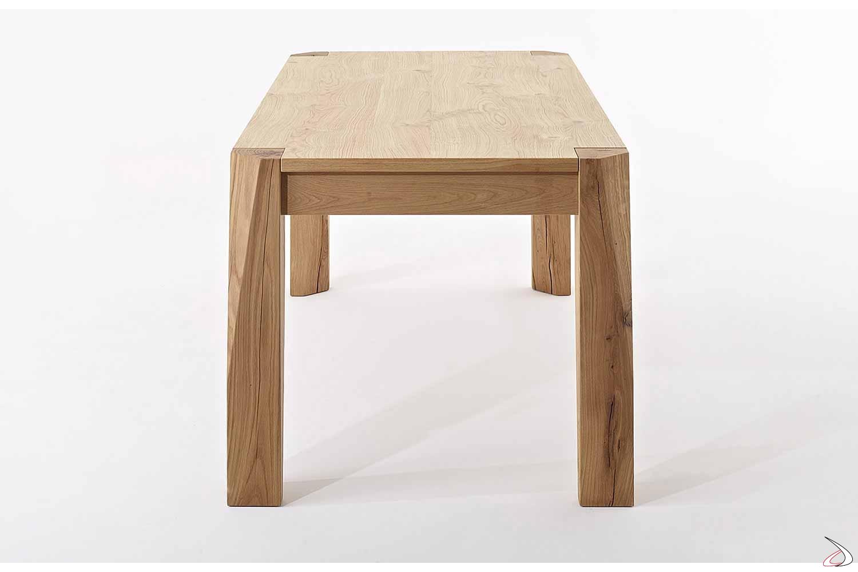 Tavolo da pranzo di design allungabile in rovere nodato naturale con gambe in massello