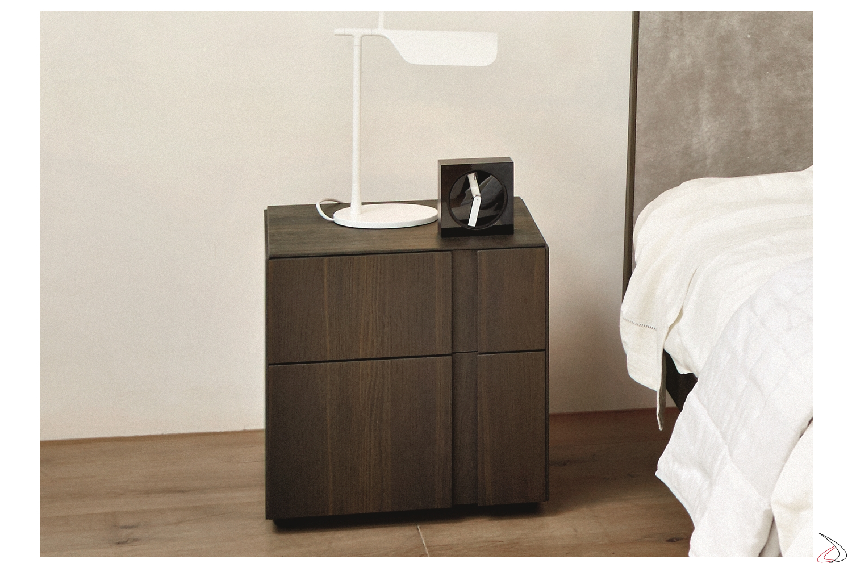 Comodino 2 cassetti per camera da letto in legno