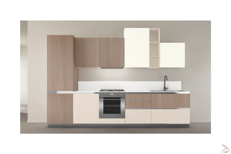 Composizione 12, cucina con ante in finitura laccato opaco bianco + grigio corda opaco + agha e modulo a giorno laccato opaco grigio corda