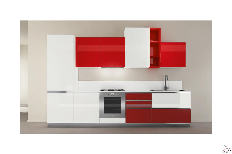 Composizione 2, cucina con ante in finitura laccato lucido bianco + rosso + rosso rubino e modulo a giorno laccato lucido rosso