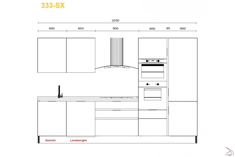 Misure per cucina modrna Miss Chef 333 cm lavello sx