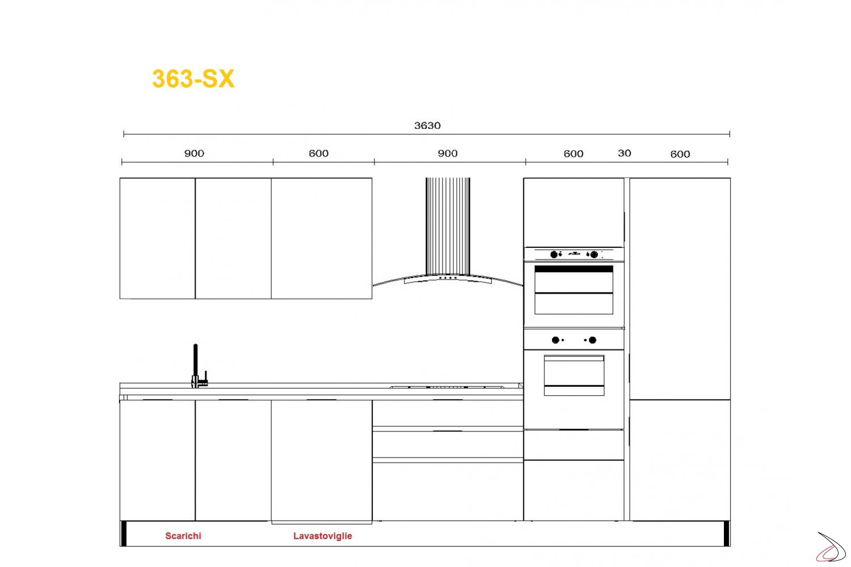 Misure per cucina modrna Miss Chef 363 cm lavello sx