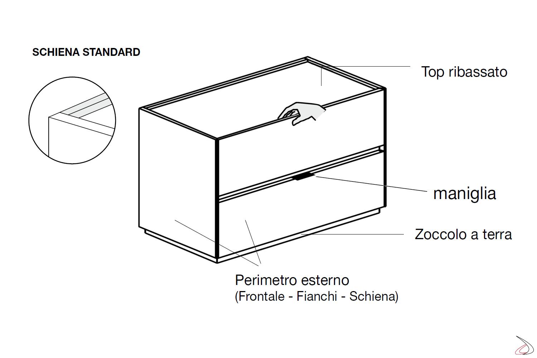 Dettagli tecnici comodino 2 cassetti camera da letto