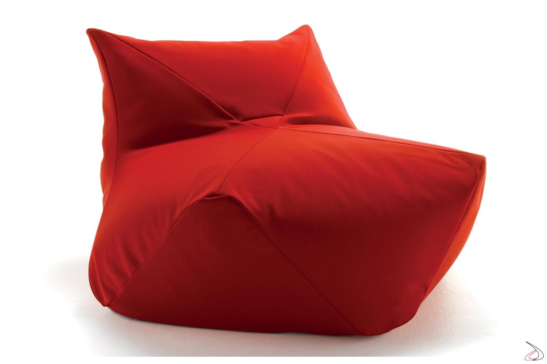 Pouf rosso a sacco per salotto