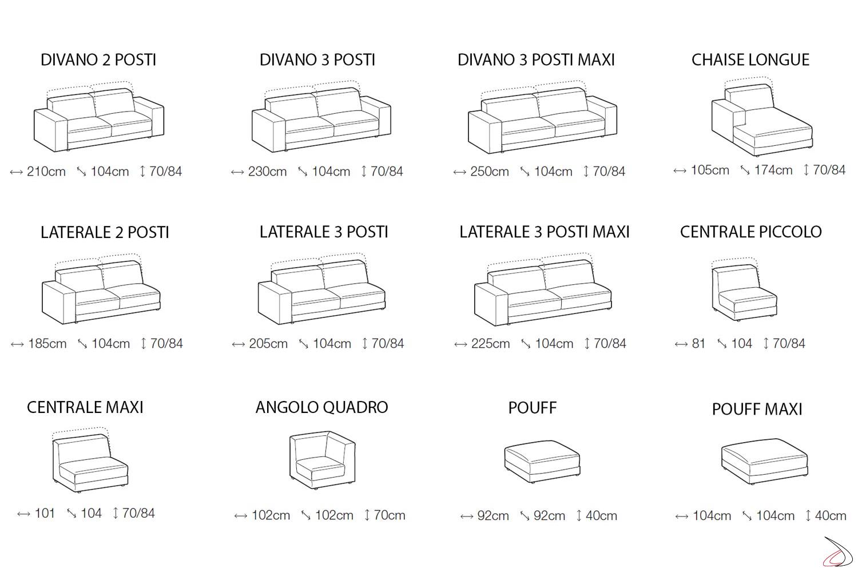 Misure divano moderno componibile da soggiorno