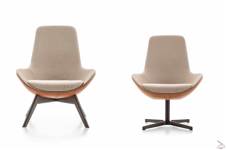 Poltrone di design imbottite da salotto con seduta larga e schienale alto