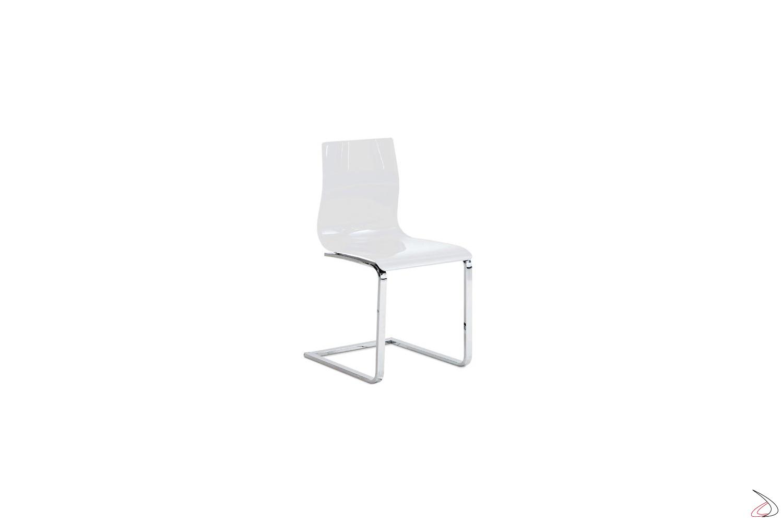 Sedia moderna su slitta gelslit toparredi arredo for Sedia bianca moderna