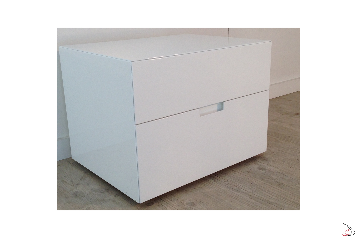 Comodino Laccato Bianco Lucido.Bedside Table With One Or Two Filo Drawers Toparredi Arredo