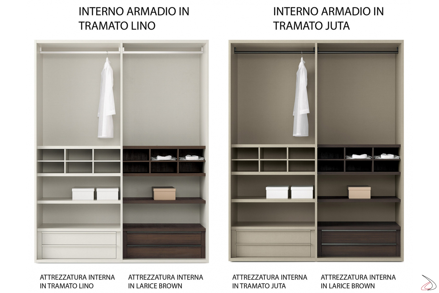 Interior finish for the modular wardrobe