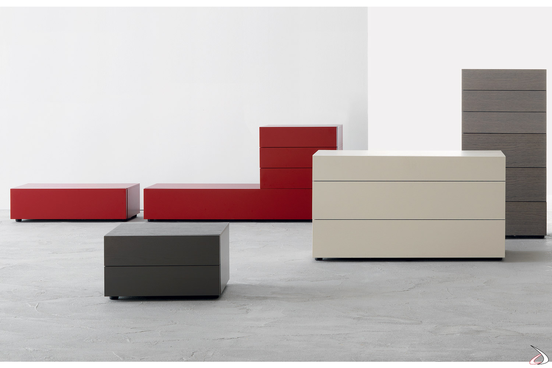 Gruppo letto moderno in legno Alveo