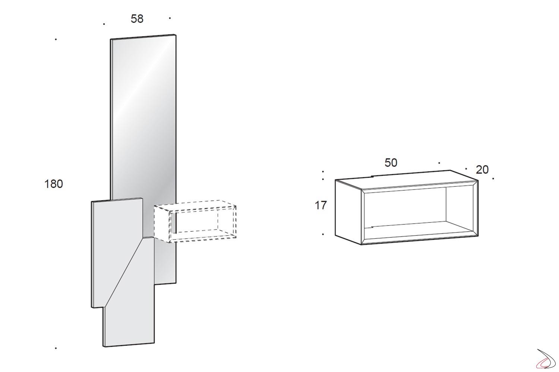 Composizione sospesa da parete ingresso con specchio e pensile a giorno