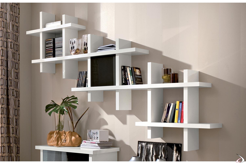 Libreria pensile componibile bianca lucida con anta in vetro