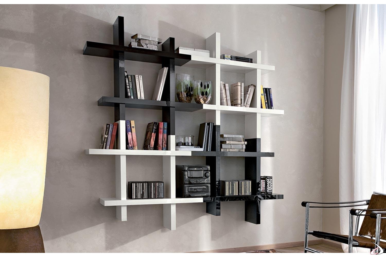 Libreria pensile quadrata da soggiorno sospesa a parete