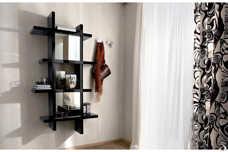 Libreria pensile verticale in legno con ante a specchio