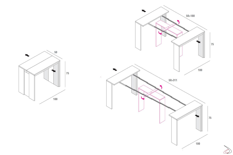Misure tavolo consolle moderna in legno