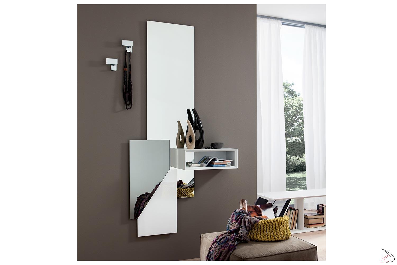 Mobile ingresso sospeso di design con vano a giorno e specchio