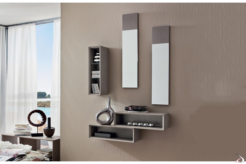 Mobile ingresso di design con elementi a giorno svuotatasche e specchi