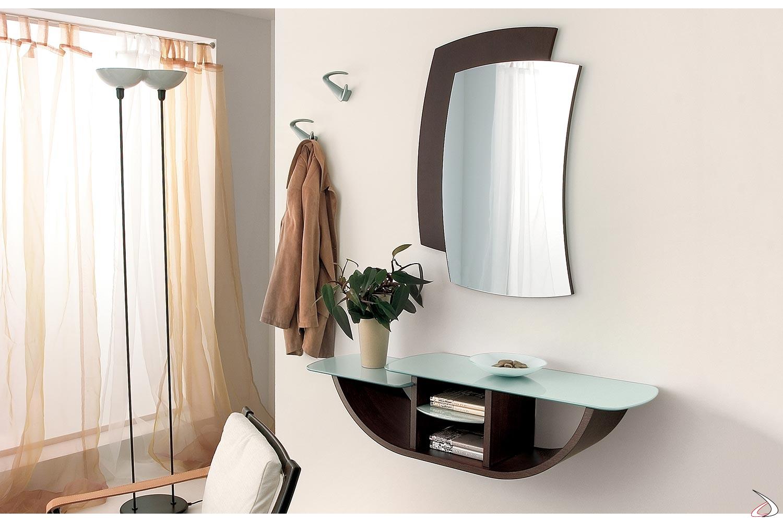 Mobile ingresso moderno con specchio e ripiani in vetro bianco
