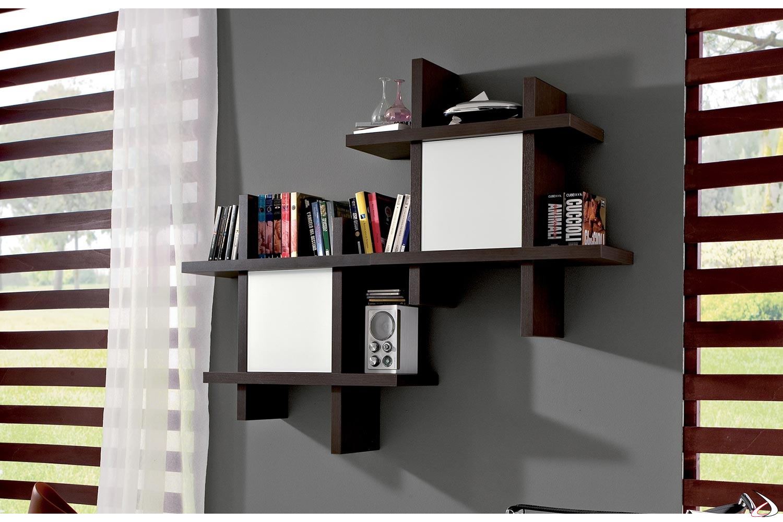 Pensile libreria modulare componibile con ante in vetro