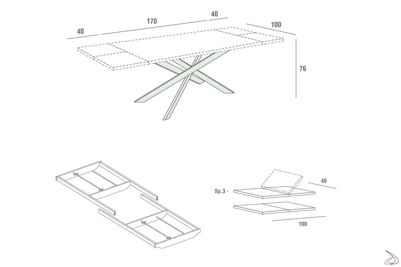 Schema tavolo con gambe in metallo e guide per l'allungamento tavolo