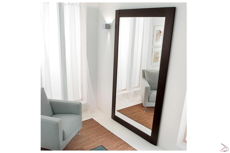 Specchio grande da parete ingresso con cornice in legno